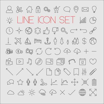 Big modern thin line icon set