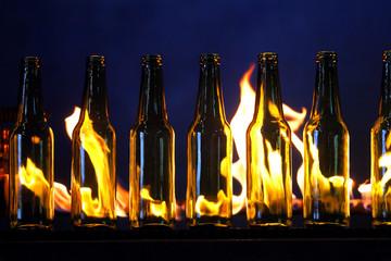 Conveyor line of bottles