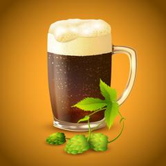 Dark beer and hop background