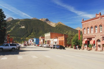 Road through the mountain town of Silverton in Colorado