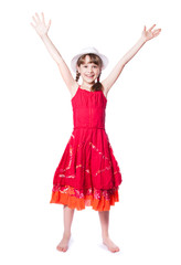 happy little girl in a red dress