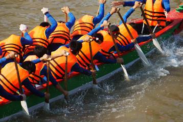 Team building activity,  rowing dragon boat racing