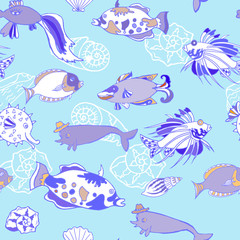 Seamless pattern  with cockleshells  blue fishes