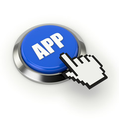 Blue app button with steel border and mouse hand