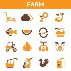 farm icons, orange color theme