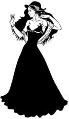 elegance woman black white