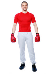 happy boxer standing over white background