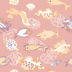 Seamless pattern  with   fishes and white cockleshells