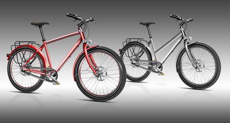 zwei Bikes schwarz und rot