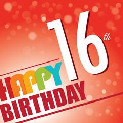 16th Birthday retro party invite/template.Bright/colorful