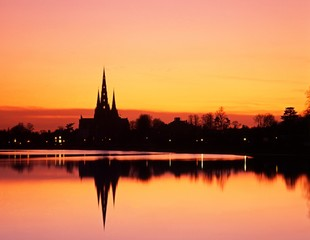 Cathedral at sunset, Lichfield, England © Arena Photo UK