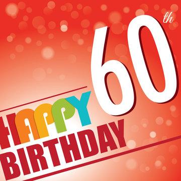 60th Birthday retro party invite/template.Bright/colorful