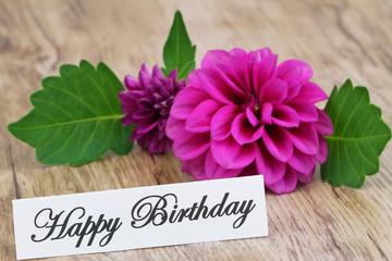 Happy Birthday card with purple dahlia