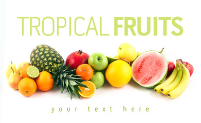 Fruits on white background with space for text.