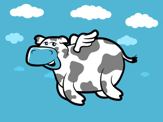 Flying Cartoon cow with tiny wings