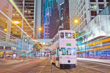 Deurstickers Hong-Kong tram on the road the night of Hong Kong
