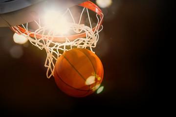 Basketball scoring basket at a sports arena