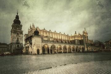 Obraz Rynek główny w Krakowie styl retro. - fototapety do salonu