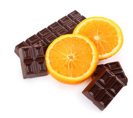 Wall Mural - Chocolate and orange isolated on white
