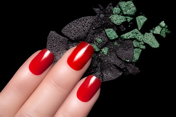 Red Nail Polish and Mineral Eye Shadow