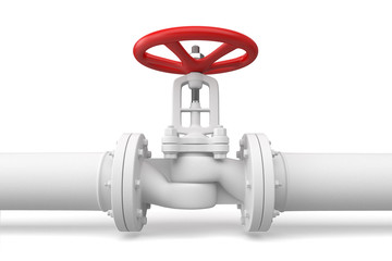 Water pipeline with valve. Isolated on white background