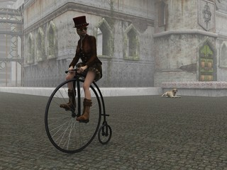Steampunk girl on penny farthing bicycle on cobbled street