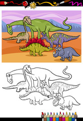 dinosaurs group cartoon coloring book
