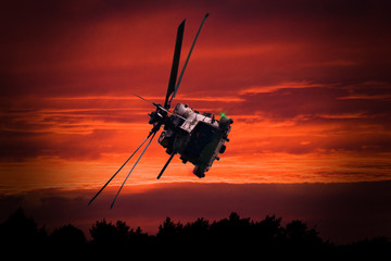 Helicopter at sunset