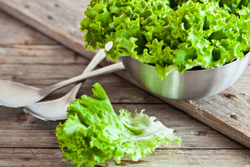 lettuce salad in metal bowl and spoons