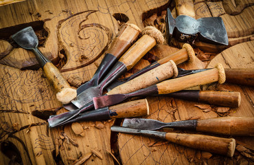 Tools of the woodcarver