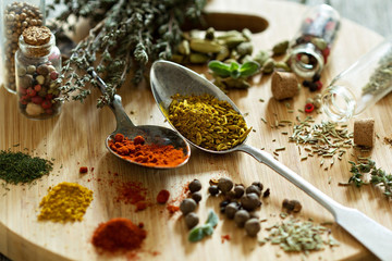 Variety of spices and herb on a wooden board