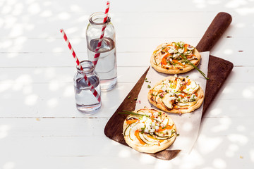 Tasty mini vegetarian pizzas with eggplant