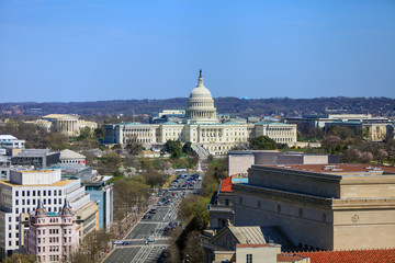 Fototapete - Washington DC, skyline with Capitol building and other Federal b