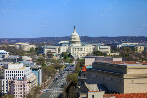 Wall mural Washington DC, skyline with Capitol building and other Federal b