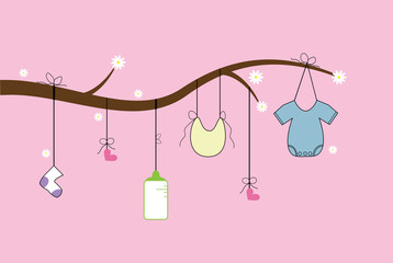 Baby Items on Tree Branch