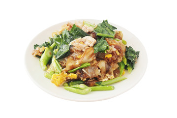 fried thin noodles with thick soy sauce and chinese kale