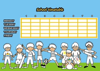 School timetable - coloring book