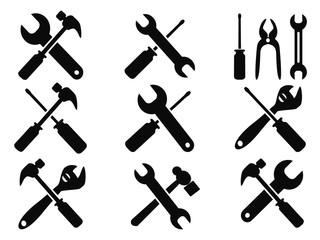 repair tool icons set