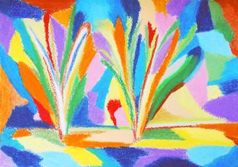 Abstract colorful pastel drawing