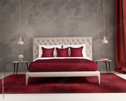 Chambre Rouge Deep Web : Quot contemporary elegant luxury deep red and grey bedroom
