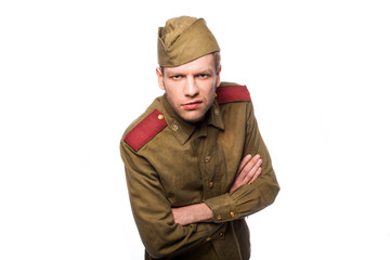 Russian soldier angry looking. Studio portrait isolated
