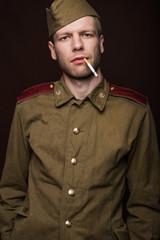 Second world war russian soldier smoking cigarette