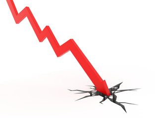 Obraz Red arrow graph breaks through the ground - fototapety do salonu