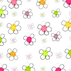 Seamless daisy flower pattern illustration