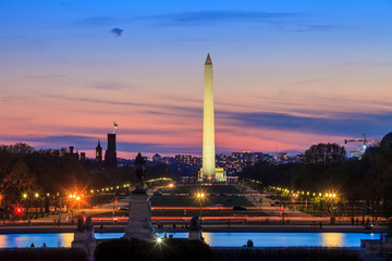 Wall Mural - Washington DC city view at sunset, including Washington Monument