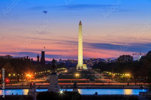 Wall mural Washington DC city view at sunset, including Washington Monument