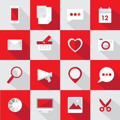 set of red flat design icons