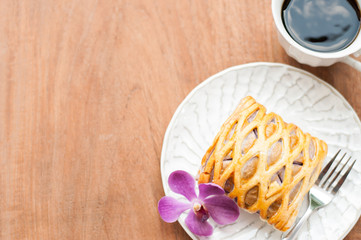 Taro Pie with coffee, relaxing time with space for your text