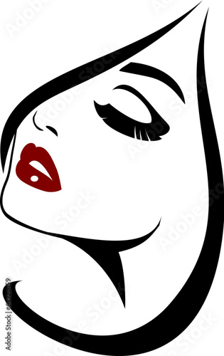 """Woman with red lips and beauty icon"" Stock image and"