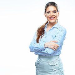 Portrait of smiling business woman dressed in blue shirt